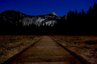 Sentinel Dome and wooden path at night_3748
