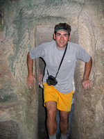 Ben_popping_though_doorway_in_man_made_underground_cave