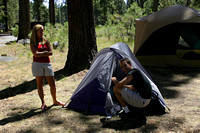 John and Ardelle pitching their tent