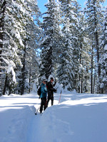 Martin and Gwyn cross-country skiing (Saturday)