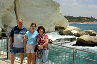 Moti, Rachel, and Tammy at the arch at Rosh Hanikra