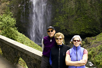 Dad, Mom, Tammy in front of Multnomah Falls