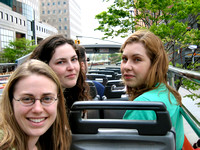 Erin, Ayleen and Natalie in the open air bus